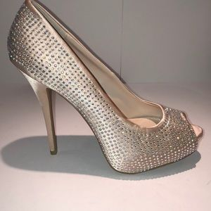 Jennifer Lopez Satin Rhinestone Heels